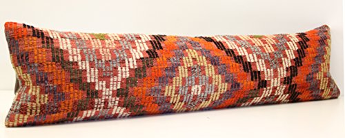 Throw Long kilim pillow cover 12x47 inch (30x120 cm) Bedding lumbar Kilim pillow cover Bedroom Decor Stripe Pillow Kilim Oblong Cushion Cover (Long Lumbar Pillow)