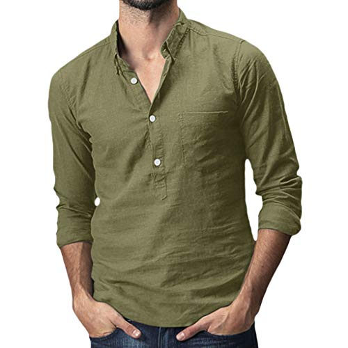 (Benficial Men's Baggy Cotton Linen Solid Pocket Long Sleeve Turn-Down Collar T-Shirts Tops 2019 Summer Army Green)