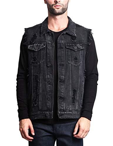 (SOMTHRON Men's Oversize Sleeveless Distressed Denim Vest Shirts Button Front Ripped Utility Pockets Jeans Vest Jackets(15632BL-2XL))