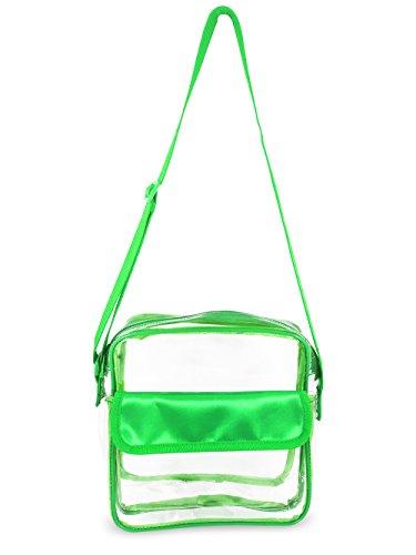 Event Stadium Approved Clear Messenger Bag Clear Shoulder Bag Transparent Purse with Adjustable Strap (Green) by Nova Sport Wear