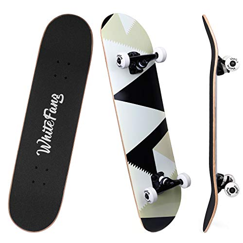 Checker Complete Skateboard - WhiteFang Skateboard Complete Skateboards 31 x 7.88, 7 Layer Canadian Maple Double Kick Concave Standard and Tricks Skateboard for Kids, Skateboards for Beginners and Pro (Peak)