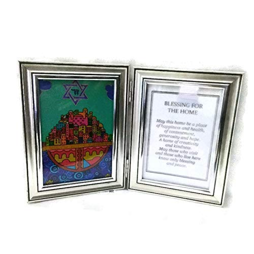 Double frame silver Hamsa Blessing for the home with gold tone frame. Ideal Housewarming gift ()
