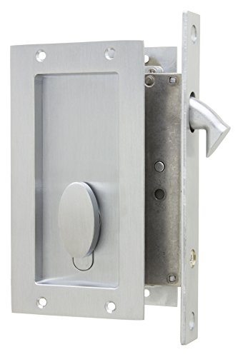 Anacapa by FPL- Solid Brass Modern Pocket Door Mortise Lock Set with Single Keyed Euro Profile Cylinder - Satin Chrome (Pocket Door Lockset With Key)