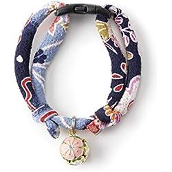 Necoichi Chirimen - Collar para Gato, diseño de Flor de Ciruela, Hecho a Mano en Japón, Talla única, Tela Kimono, Azul