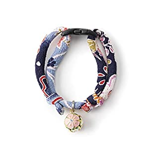 Necoichi Chirimen Plum Blossom Cat Collar, Handcrafted in Japan, 1 Size fits All, Kimono Fabric … 29