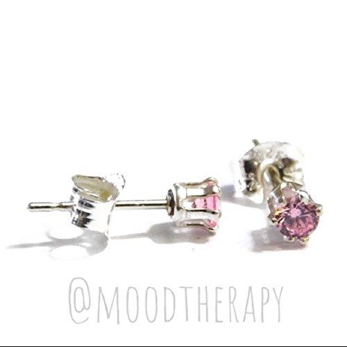 925 Sterling Silver Pink Kunzite Stud/Post Earrings 3MM Faceted Gemstone Studs