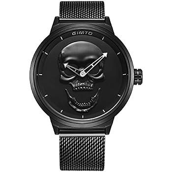 GIMTO Creative Skull Mens Watch Cool Vintage Boy Quartz Wristwatch Stainless Steel Mesh Strap (BLACK SKULL)