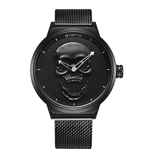 Cool Skull Men Watch Luxury Brand Quartz Creative Clock Steel Black Military Female Male Wrist Watches
