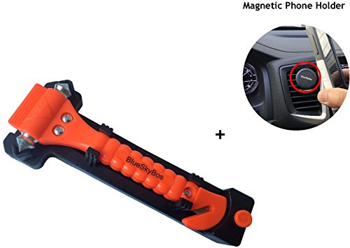 UPC 682821006197, Super Value Set - Emergency Escape Tool Auto Car Window Glass Hammer Breaker and Seat Belt Cutter Escape 2-in-1 Tool, Plus a Car Vent Mount Phone Holder by BlueSkyBos