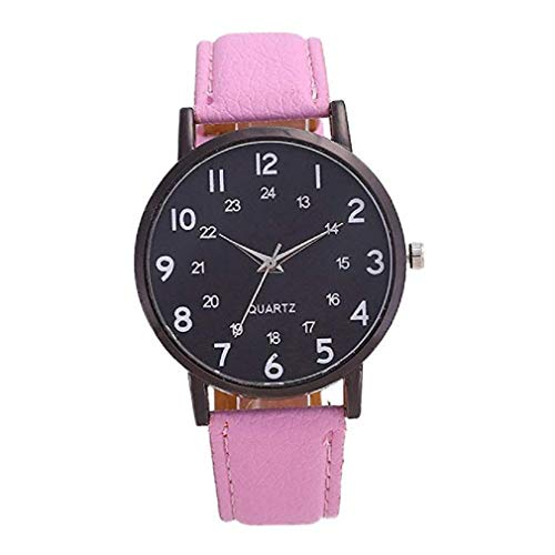 Price comparison product image Womens Quartz Watches, Windoson Simple Style Number Pattern Big Face Leather Band Elegant Casual Analog Wrist Watches (Pink)