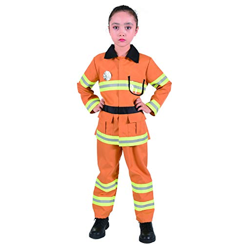 CO-AVE Firefighter Costume Pretend Fireman Dress Up Set for Kids Boys and Girls,3-8T