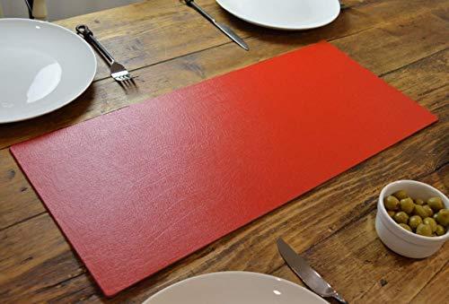 Mantel de Piel Regenerada de Color Rojo Artesanal, Centro de Mesa, 60 cm x 27 cm, Hecho a Mano en Reino Unido