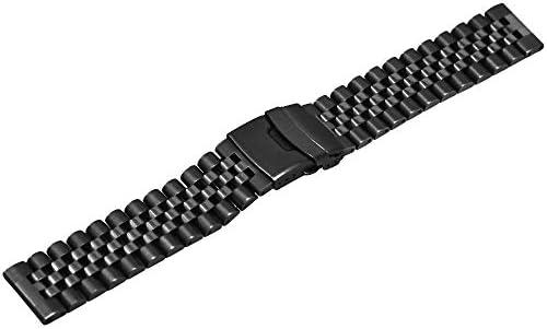 プレミアム 立体効果 時計バンド ステンレス  20mm / 22mm 腕時計 ベルト ラウンド&丈夫なメタルウォッチブレスレット 時計ストラップ 二重ロック付き 男性用女性の為にダイバークラスプ (22mm, ブラック)