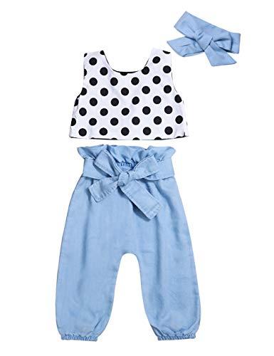 Polka Dot Denim Pant - 3Pcs Toddler Baby Girls Clothes Polka Dots Tank Tops Vest Denim Harem Pants Bowknot Headband Kids Summer Outfits Set(Size90/18-24M)