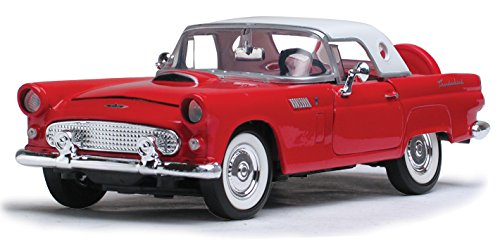 1956 Ford Thunderbird Closed Convertible, Red - Motormax 73312 - 1/24 scale Diecast Model Toy Car, but NO BOX -  73312r