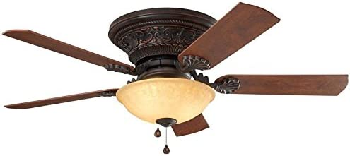 Harbor Breeze Lynstead 52-in Bronze LED Indoor Flush mount Ceiling Fan with Light Kit 5-Blade