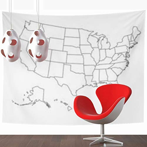 YeaSHARK Wall Hanging Tapestries 80 x 60 Inches State Blank Outline Map USA United Decor Tapestry for Home Bedroom Living Room - Maps Outline Blank