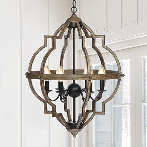 KingSo Pendant Light 6 Light Rustic Metal Chandelier 27.5