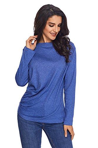 Nuovo blu a maniche lunghe drappeggiato collo rotondo pullover camicetta estate camicia top casual Wear taglia UK 8EU 36