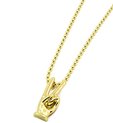 Gold Tone Peace 2 Fingers Charm Micro Pendant 3mm 27