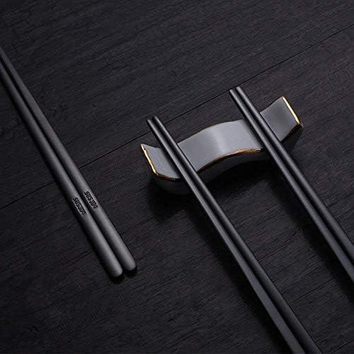 1 Paar wiederverwendbare Essstäbchen Metall koreanische chinesische Edelsta P1N5