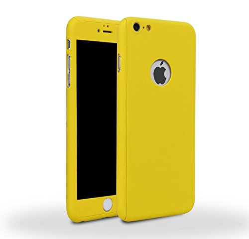 Price comparison product image iPhone 7 Plus 5.5 Inch Full Body Hard Case-Auroralove Yellow 360 Degree Full Protective Slim Sleek Front Back Case for iPhone 7 Plus 5.5 Inch with Tempered Glass Screen Protector