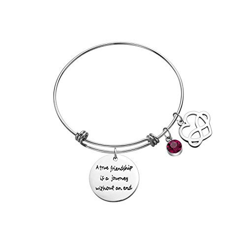 Sunflower Jewellery Birthstone Charm Bracelet A True Friendship is a Journey Without an end (October)