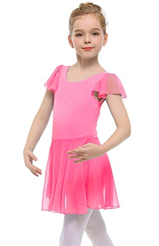 STELLE Girls' Ruffle Short Sleeve Tutu Skirted Ballet Leotard for Dance, Ballet(110cm, Bright Pink) - Short Sleeve Tutu