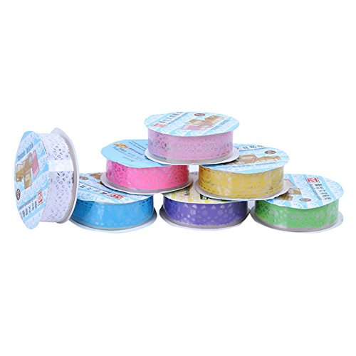Demarkt 3 x kant tape doehetzelfdecoratie plakband washitape scrapbooking decoratie sticker ideaal voor het decoreren van doehetzelfkaarten fotoalbums scrapbookpaginas handwerk willekeurige kleuren