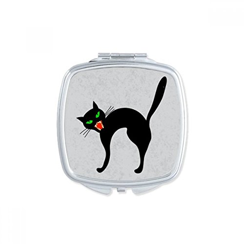 Scary Black Cat Halloween Square Compact Makeup Pocket Mirror Portable Cute Small Hand Mirrors Gift