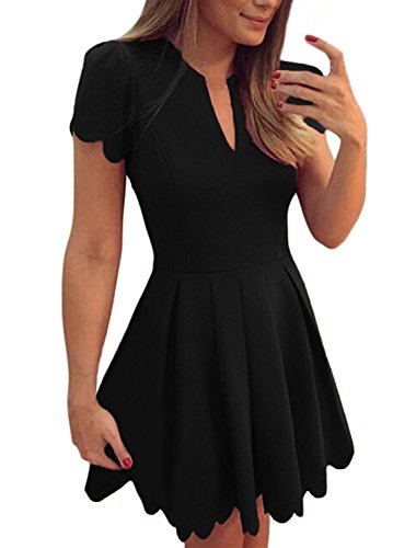 Sidefeel Women Sweet Scallop Pleated A-line Dress Small Black -