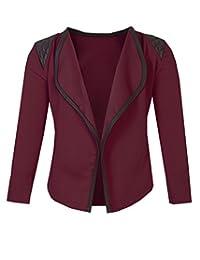Girls Blazer Jacket with Shoulder Detail in Burgundy 3-4 Years