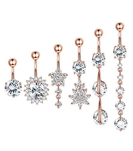 Finrezio 6PCS 14G 316L Stainless Steel Dangle Belly Button Rings for Women Navel Ring CZ Body Piercing Jewelry (B: 6PCS Rose-Gold-Tone)