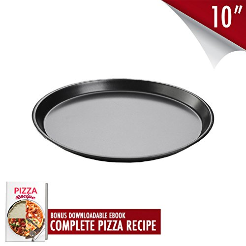 10-inch Durable Pizza Pan Stick Resistant with Premium Aluminum Alloy - Bakeware Round Shaped Cake Kitchen Baking Cookies Tray for Homemade Pies - Pizza Recipe Ebook Included