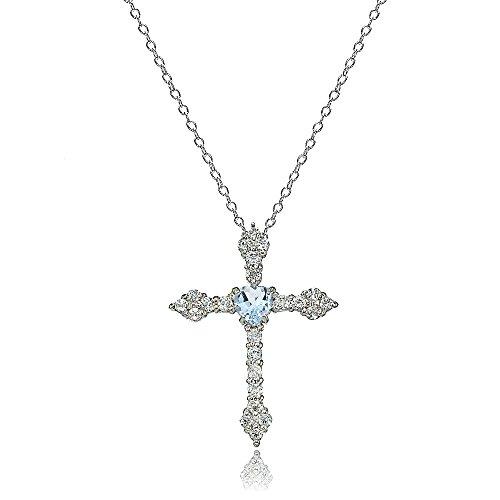 Lovve Sterling Silver Blue Topaz & White Topaz Heart Orthodox Cross Necklace