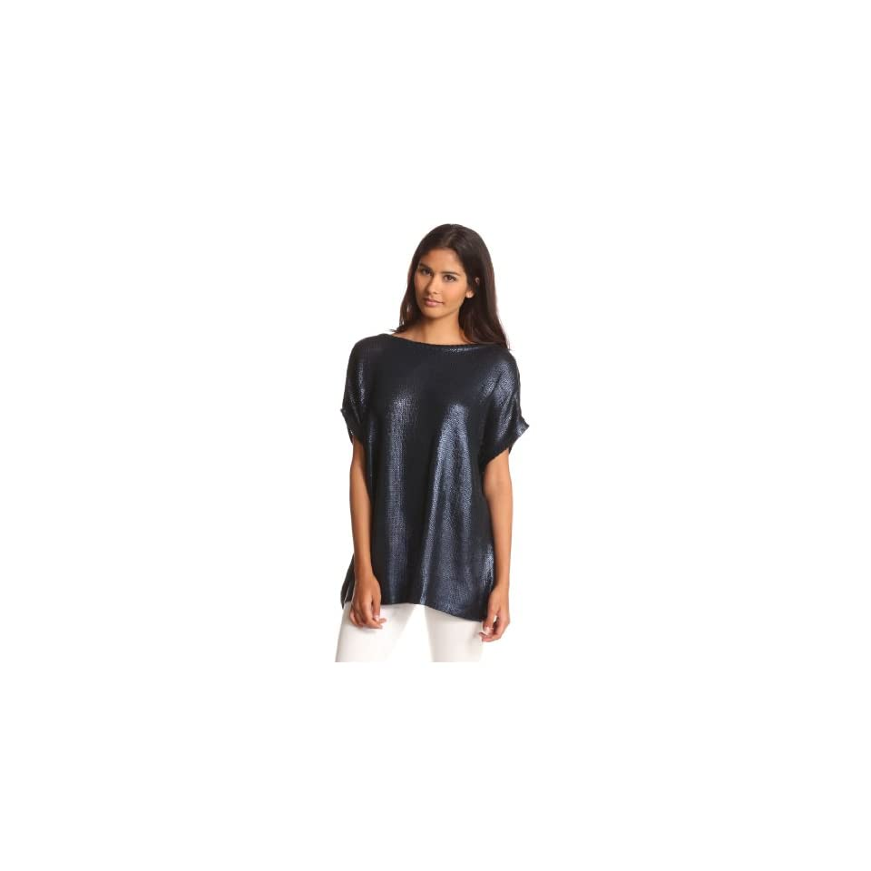 Anne Klein Womens Boat Neck Tunic Sweater, Navy,X Small