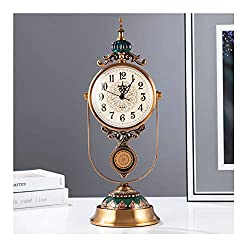 DSADDSD &Bedside Clocks Table Clock for Living Room Decor Ceramic Desk Clocks Battery Operated Non Ticking Silent Bedroom Creative European Retro Pendulum Decorative MetalSilent