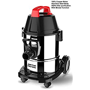 American MICRONIC AMI-VCD21-1600WDx- 21 Litre Stainless Steel Wet & Dry Vacuum Cleaner with Blower & HEPA Filter, 1600…