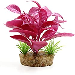 uxcell Light Fuchsia Ceramic Base Plastic Terrarium Plant Landscape Decor Household Ornament Reptiles Habitat Decoration