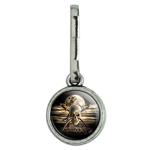 GRAPHICS & MORE Pirate Skull Crossed Swords Cutlasses Ocean Moon Antiqued Charm Clothes Purse Suitcase Backpack Zipper Pull Aid