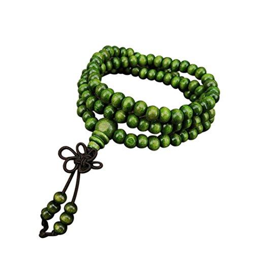 Hemlock Wooden Prayer Beads Bracelets, Women Girls 108 Natural Sandalwood Beads Chain Bracelets Bangle (Green)