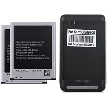 2 x 2100mAh Baterias de repuesto + Cargador de pared USB para Samsung Galaxy S3 i9300, L710, i747, i545, T999