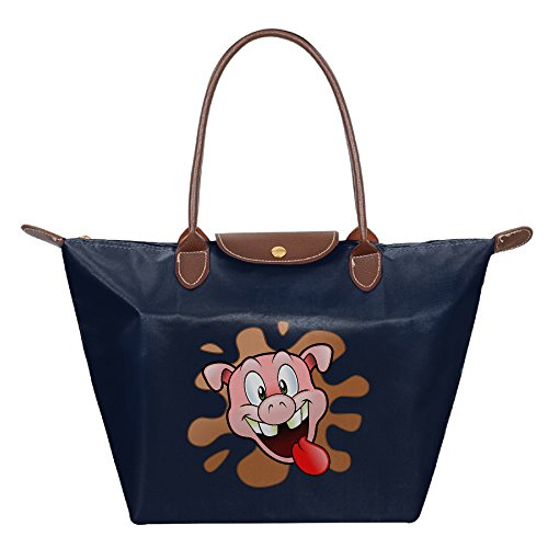 [Oery Pig Make A Face Small Nylon Mini Travel Tote Shoulder Tote Navy] (Fire Dog Costume For Toddler)