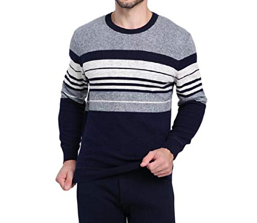 (Zimaes-Men Brumal Thickened Stretch Top & Bottom Set Warm Knit Long Johns 15 M)