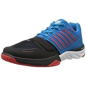 K-Swiss Men's X Court Premium Fitness Shoe, Methyl Blue/Black/Fiery Red, 8.5 M US