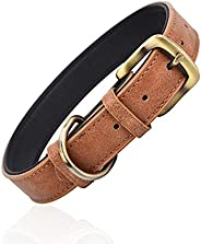 Classic Leather Dog Collar for Small Medium Large Dogs Padded Soft and Strong Adjustable Pet Collars Heavy Dut