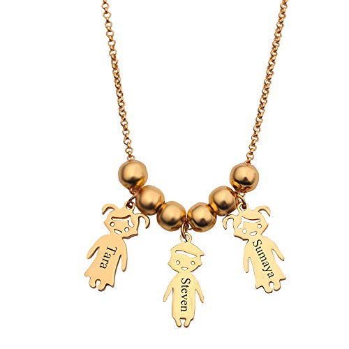- rongji jewelry Personalized Children Charms Mothers Necklace - Name Engraved Boy Girl Charm Necklace, Creative (Gold-3)