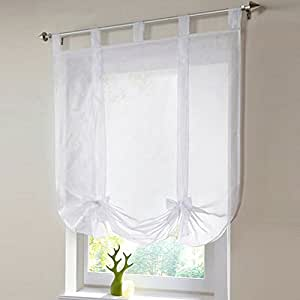 Shzons 1pc liftable organza kitchen balcony curtains tie up rod pocket roman window - Amazon tende da bagno ...