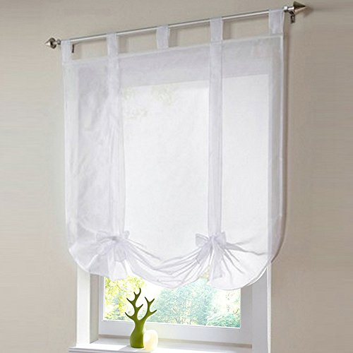 SHZONS 1pc Liftable Organza Kitchen Balcony Curtains,Tie-Up Rod Pocket Roman Window Shades Sheer Voilet Window Vanlance(White,31.50