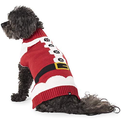 Hotel Doggy Santa Suit Holiday Dog Sweater - Red Acrylic Dog Clothing Medium